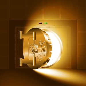 20665909 - light through a half-open door of the bank vault; the gold version